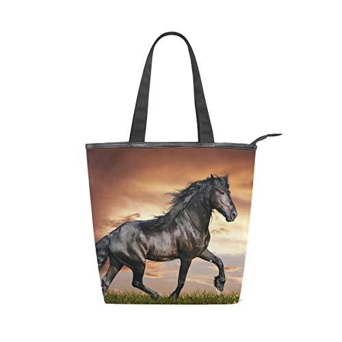 LORVIES Arabian Horse Canvas Tote Bag Zippered Shoulder Bag Purse Women Girls Handbag Tote for Shopping, School, Outdoor, Picnic by LORVIES