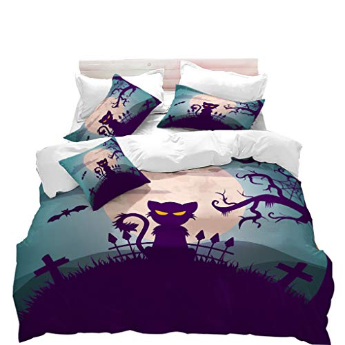 VITALE Duvet Cover Set, Halloween Printed Queen Size Quilt Cover Set, Cartoon Black Cat Printed 3 Pieces Queen Size Bedding Set Kids Bedding Halloween Decor ()