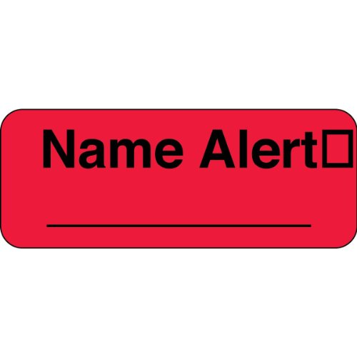 """PDC Healthcare 59702053 Paper Label, Fluorescent Red Label with Black Text, """"Permanent Name Alert"""", 2.25"""" Width x 0.875"""" Length (Roll of 1000)"""