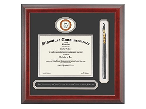 Texas San Antonio Seal (Signature Announcements University-of-Texas-Health-Science-Center-At-San-Antonio Undergraduate Sculpted Foil Seal, Name & Tassel Diploma Frame, 20 x 20, Cherry)