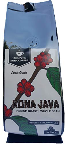 Kona Coffee by Kona Java - 100% Pure Fancy Hawaiian Beans, Not a Blend - Kona Whole Bean - Gourmet Medium Roast - Grown on Real Hawaii Volcanic Soil and Freshly Roasted ()