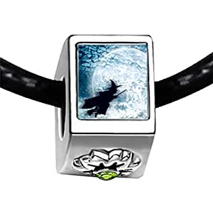Chicforest Silver Plated Halloween witch fly over moon Photo Peridot Crystal August Birthstone Flower Charm Beads Fits Pandora Charms
