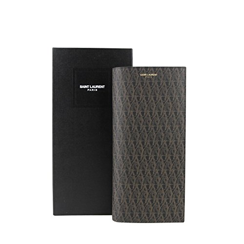 Yves Saint Laurent Black/Brown Supreme Canvas Leather Wallet With Slip Pocket Holder 361321 1059
