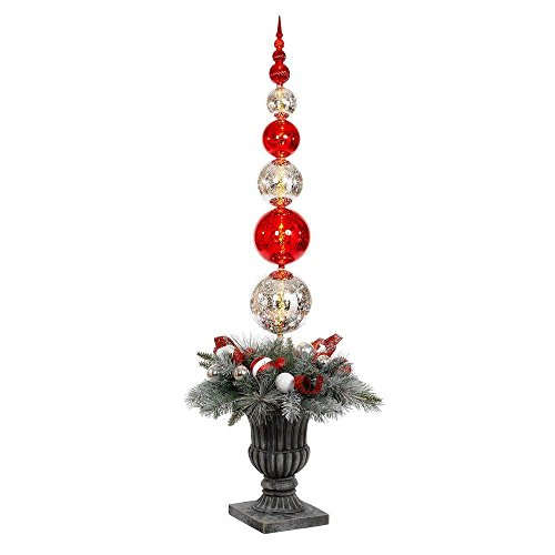 Home Accents Holiday 5 ft. Battery Operated Plastic Ball Ornament Topiary Tree with 30 Clear LED Lights and Timer Feature Christmas Topiary
