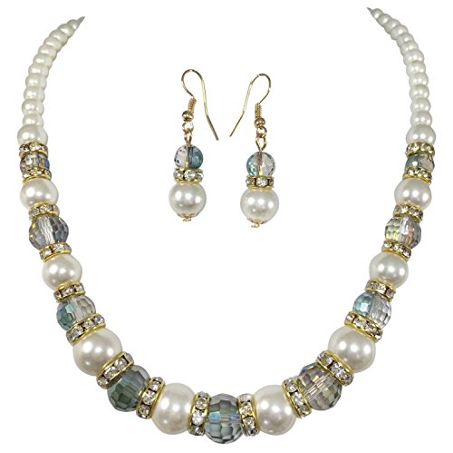 Pearl And Glass Bead Earrings (Imitation Pearl with Green Beveled Glass Beads & Rhinestones Necklace & Earrings Set)