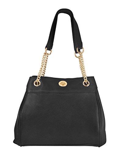 Roma Leathers Ladies' Gun Concealment Shoulder Bag - Dual Compartment, D-Ring Shoulder Straps - Black (Leather Black Chain Bag Shoulder Link)