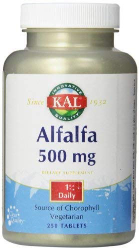 KAL Alfalfa 8 Grain Tablets, 500 mg, 250 Count by Kal
