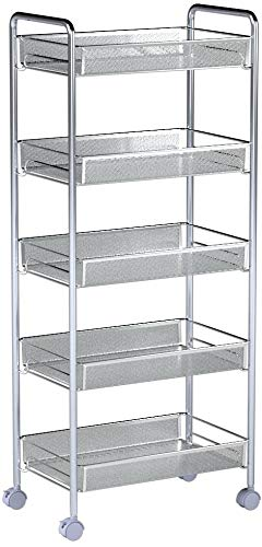Homfa 5-Tier Mesh Wire Rolling Cart Multifunction Utility Cart Kitchen Storage Cart on Wheels, Steel Wire Basket Shelving Trolley,Easy Moving,Silver by Homfa