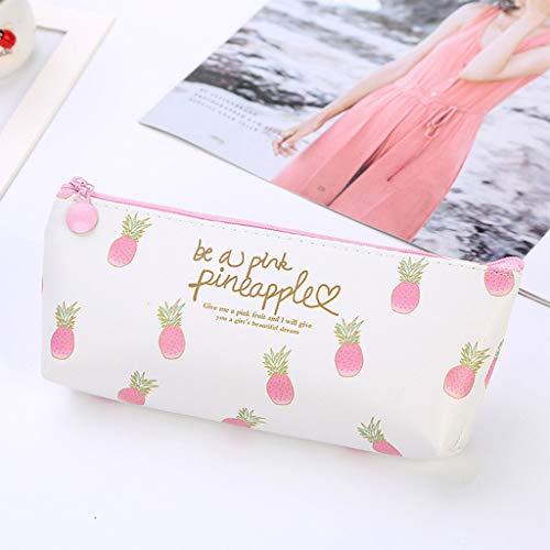 Gotian Creative Pineapple Print Girl Heart Bag Large Capacity Cute Pen Storage Bags Fresh and PU Waterproof Convenient Durable Cosmetic Bag Pencil Case (B)]()