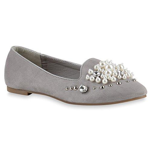 Grau Flats Slipper Schleifen Steine Loafers Schuhe Damen Glitzer Flandell Profilsohle Perlen 8dqHwOIBx