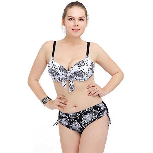 SHISHANG La Sra gran tamaño bikini de alta elasticidad ambiental de fertilizantes para aumentar Europa y el traje de baño partido Estados Unidos black and white flowers
