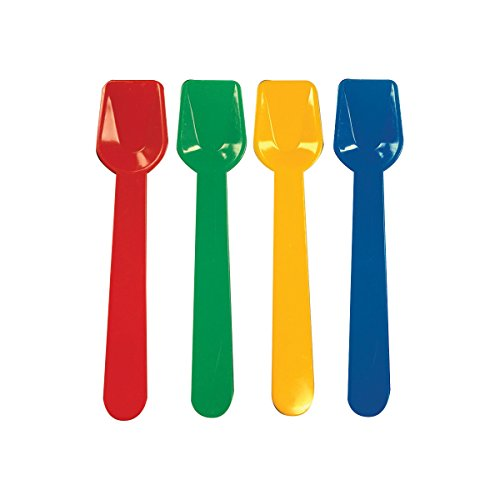 Party Essentials Heavy Duty Hard Plastic Gelato/Tasting Spoons (200 Pack), Red/Blue/Green/Yellow