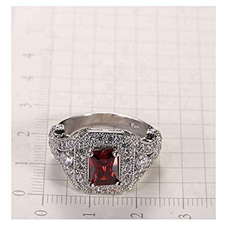 HCBYJ Lady ring Rhinestone 925 Sterling Silver Square Jewelry Cut red Crystal Ring Female Party Accessories