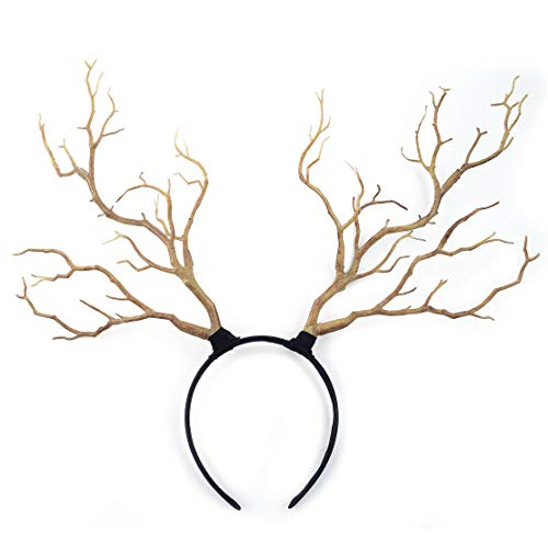 Headband Gothic Halloween Branches Xmas Antler Costume Women Hairband Props (Color - Light Brown)