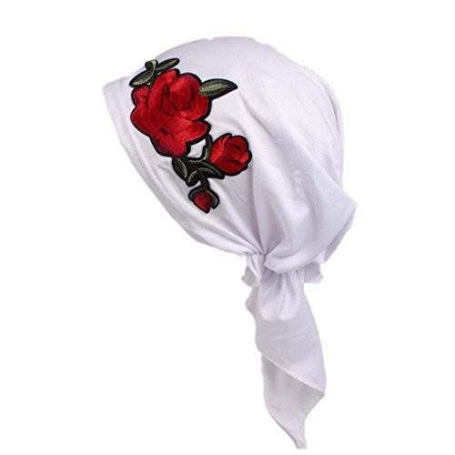 Wrap Embroidery (HOT!Head Wrap Cap ,BeautyVan Charming Women Rose Embroidery Cancer Chemo Beanie Scarf Head Wrap Cap (White))
