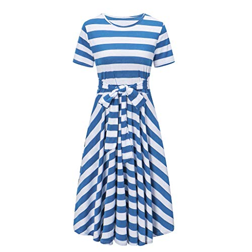 Opinionated Women's Striped Stitching Short-Sleeved Straps Striped Dress Pleated Waist with Belt Long Casual Dress Blue