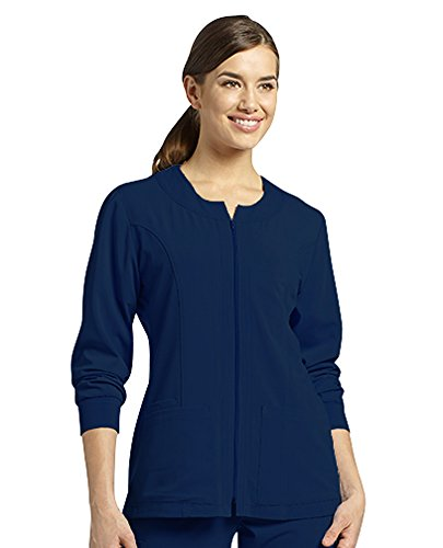 Oasis Marvella By White Cross Women's Jewel Neck Zip Front Scrub Jacket Medium Navy Jewel Zip
