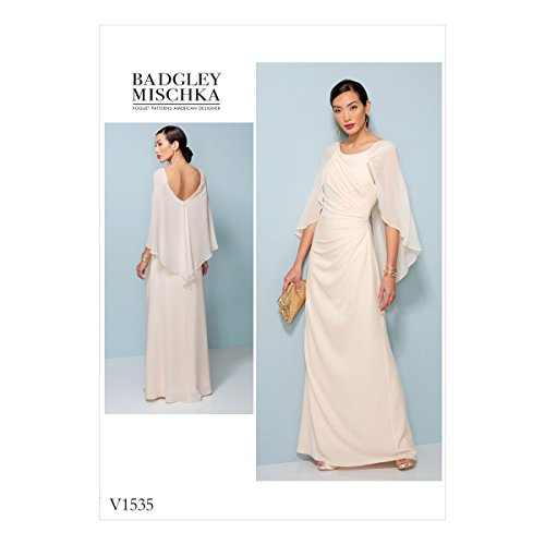 (Vogue Patterns V1535E50 Cape Dress Sewing Pattern for Women by Badgley Mischka, Sizes 14-22)