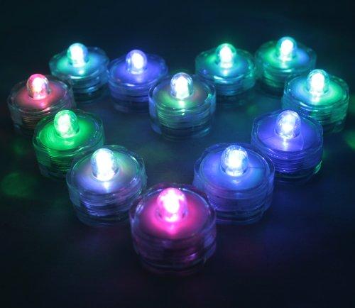BlueDot Trading Submersible Tea Lights, Multicolor, 12-Pack (Little Underwater Lights)