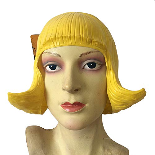 (Yellow CD Wig Pretty Latex Wig Cosplay Costumes Masquerade Rubber Wigs for)