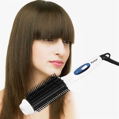 Comb Elec (Alicenter(TM) Kemei Curly Straight Electric Hair Comb Modelling Hairdressing Brush Tool H)