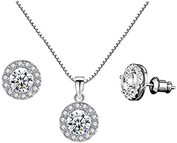 Czcity 18K Rose Gold Plated Pendant Necklace Womens Jewelry Set