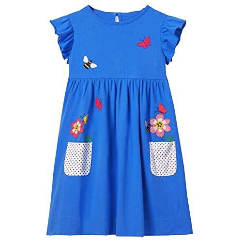 VIKITA Toddler Girl Animal Stripe Cotton Long Sleeve Dress Baby Girls Winter Casual Dresses 2-8 Years (6T, SKM005)