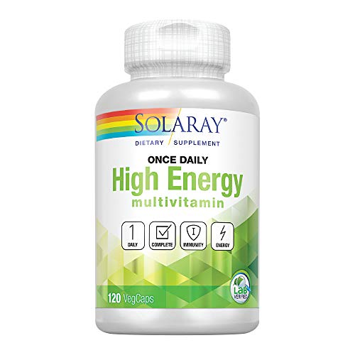 Solaray Once Daily High Energy Multivitamin | Supports Immunity & Energy | Whole Food Base Ingredients | Men's and Women's Multi Vitamin | 120 VegCaps