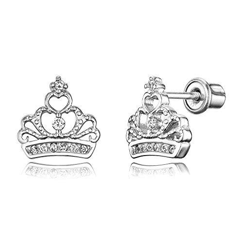 925 Sterling Silver Rhodium Plated Cubic Zirconia Princess Crown Screwback Baby Girls Earrings