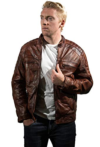 DE - MARCA Cafe Racer Bikers Leather Jacket for Men Vintage 100% Wax Genuine Leather Jacket (L) ()