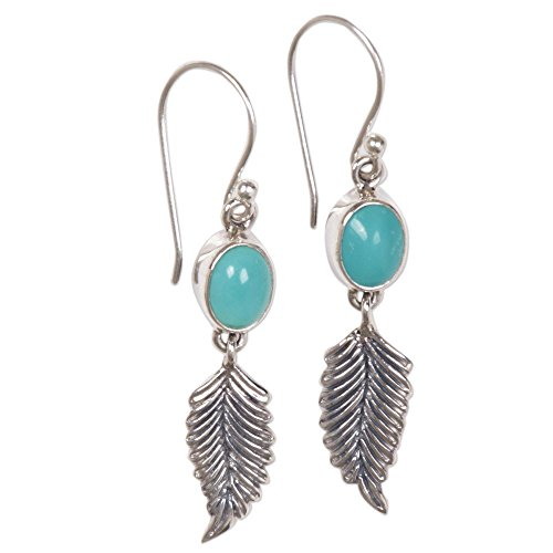 (NOVICA Dyed Magnesite .925 Sterling Silver Feather Dangle Earrings 'Passionate Hope' )