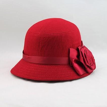 74c30124cce Amazon.com  Anself Fashion Elegant Women Ladies Fedora Cloche Flower Rose  Bucket Hat Headwear Red  Sports   Outdoors
