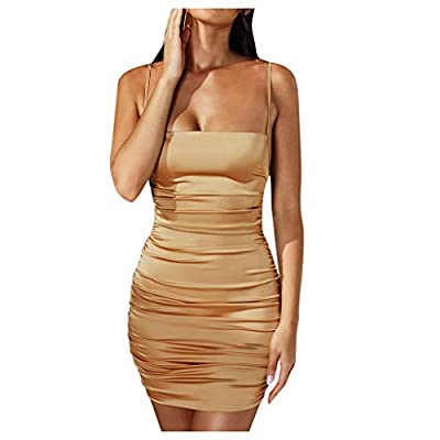 Excursion Clothing Women's Basic Tank Sexy Spaghetti Strap Bodycon Ruched Club Mini Party Dress Sleeveless Bodycon Backless Cocktail Party Clubwear Dress