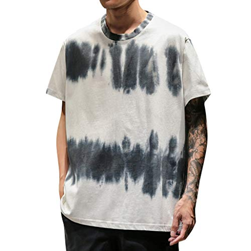 LUCAMORE Mens Fashion Printed T-Shirts Short Sleeve Crewneck Tie-Dye Tee Shirts Summer Tops White (Sure Grip Oxford)