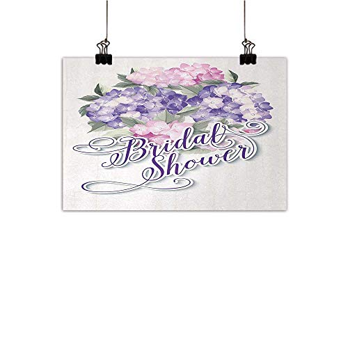 (Bridal Shower Modern Oil Paintings Shabby Chic Hydrangeas Romantic Bride Flowers Image Art Print Canvas Wall Art Purple and Light Pink 24