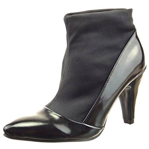 Sopily - Zapatillas de Moda Botines flexible A medio muslo mujer brillantes Talón Tacón ancho alto 9 CM - Negro