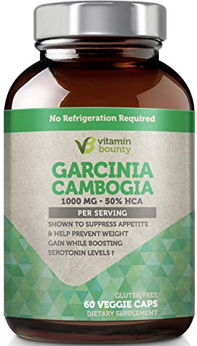 Vitamin Bounty - Garcinia Cambogia 100% Pure Extract with 100% Moneyback Guarantee - 60 Count - 1000mg (Best Rated Garcinia Cambogia)