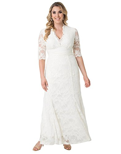 Gowns Alfred Angelo Bridal - Kiyonna Women's Plus Size Amour Lace Wedding Gown 1X Ivory