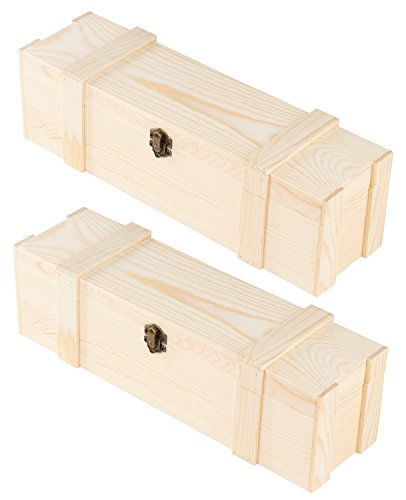 Juvale Wooden Wine Box - 2-Pack Single Wine Bottle Wood Storage Gift Case, Hinged with Clasp Box for Birthday Party, Housewarming, Wedding, Anniversary, 14 x 4.125 x 4.125 Inches