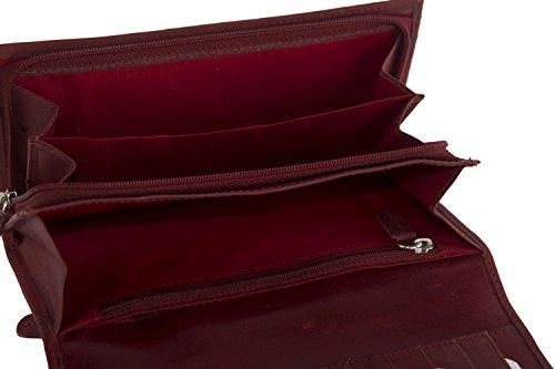 cartera mujer RONCATO rojo en cuero fuelle con abertura a botòn
