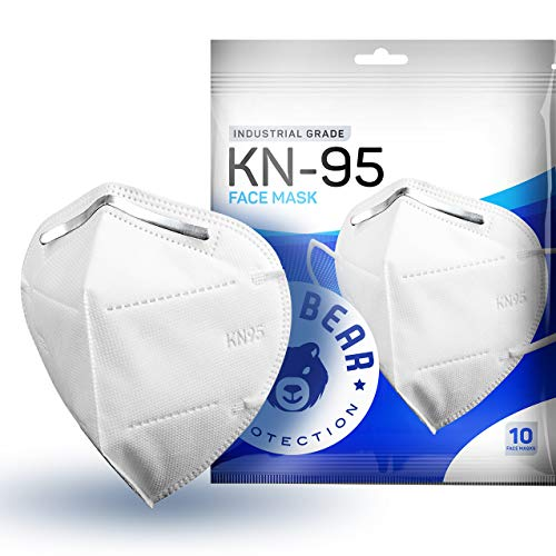 Blue Bear Protection Disposable KN95 Face Masks, Adult Disposable Face Mask, KN95 Masks Disposable, 4 PLY Mask KN95, White Face Mask for Adults, Disposable Masks, Face Masks Disposable (Pack of 10)