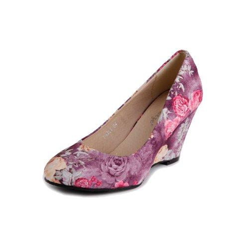 Reneeze DAISY-04 Women High-Heel Floral Wedge Pumps - Purple-7