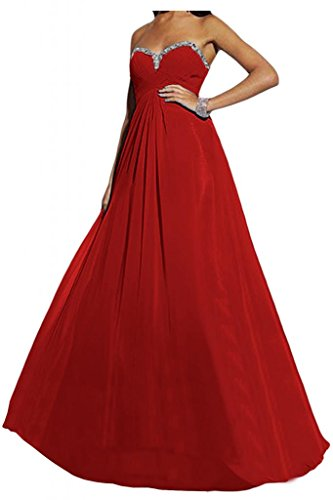 En forma de corazón de la Toscana de novia de gasa noche atractivo largo vestido de fiesta vestidos de bola Prom vestidos Rojo