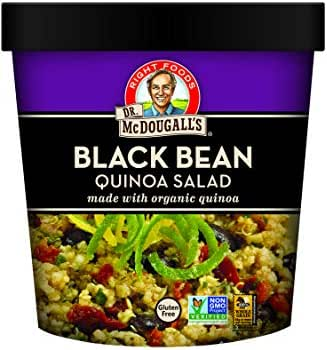 Dr. McDougall's Right Foods Lower Sodium Black Bean Quinoa Salad, 2.6 Ounce Cups (Pack of 6) Made w/Organic Quinoa, Vegan, Gluten-Free, Non-GMO, Paper Cups From Certified Sustainably-Managed Forests