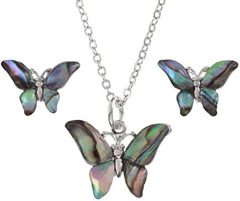 Collar De Mariposa Rosa Paua Abalone shell colgante plata Joyería en Caja De Regalo