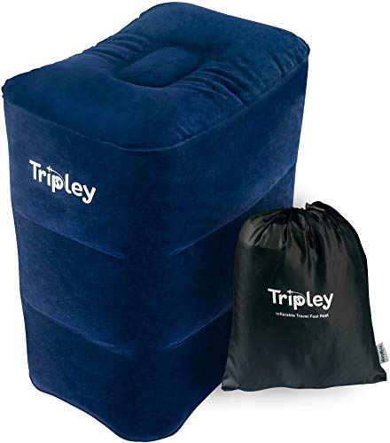 Tripley Foot Rest Travel Pillow - Large Inflatable Footrest for Airplanes, Cars, Home