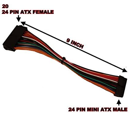 amazon com: 9 inch atx power supply 20 pin / 24 pin to small mini 24 pin  connector adapter cable cord for hp slimline flex atx motherborad main  board: