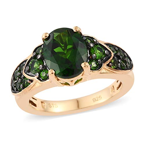 Cocktail Ring 925 Sterling Silver Vermeil Yellow Gold Oval Chrome Diopside Gift Jewelry for Women Size 10 Cttw 2.1