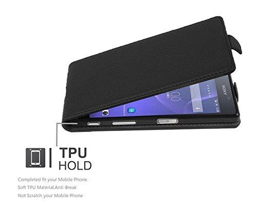Cadorabo �?Funda Flip Style para >                                      Sony Xperia X                                      < de Cuero Sintético �?Etui Case Cover Carcasa Caja Protección in NEGRO-ÓXIDO NEGRO-ÓXIDO