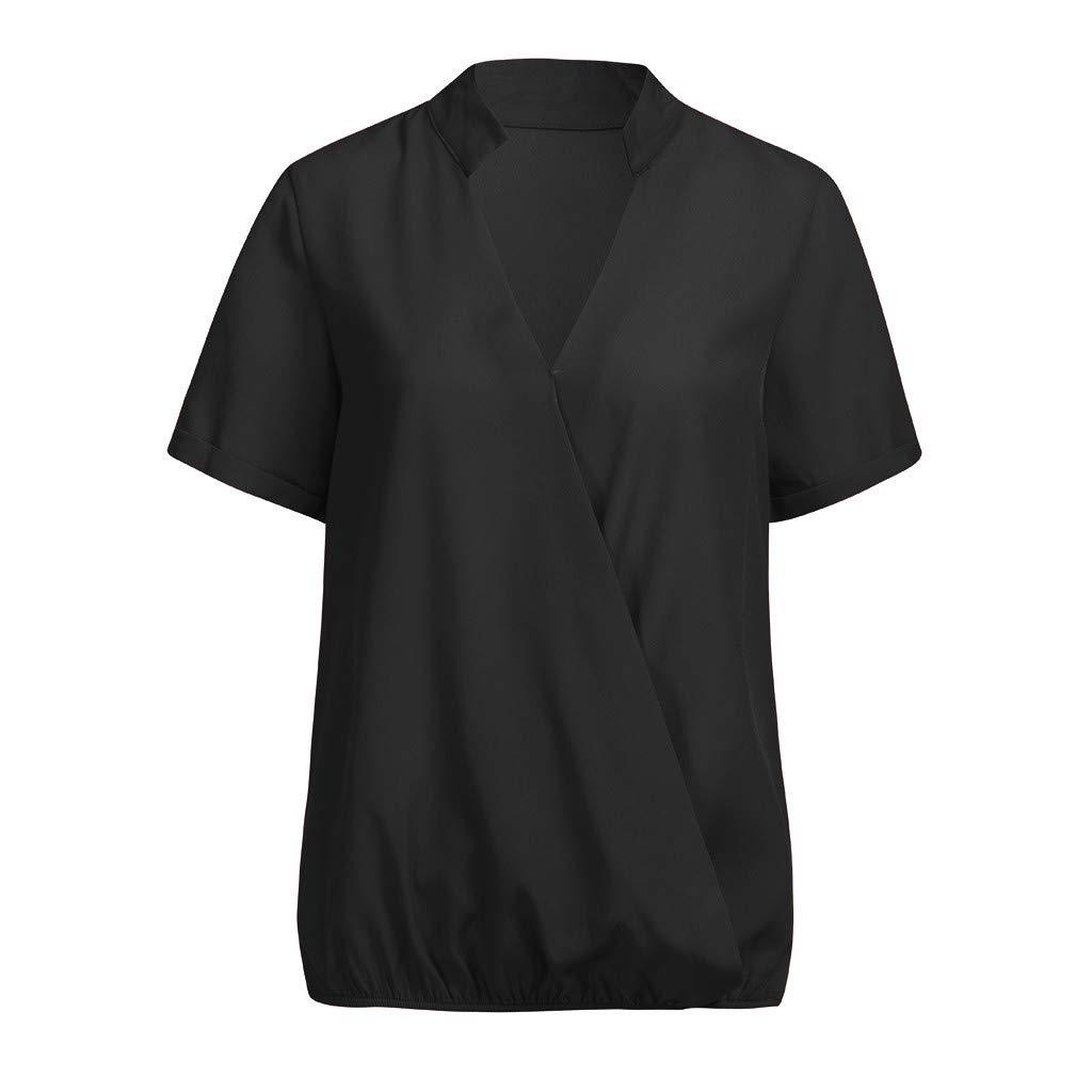 👚 Camisas Mujer Casual, Camiseta de Cuello Alto de Solapa Casual para Mujer Camisetas de Manga Larga de Blusa De Manga Corta: Amazon.es: Ropa y accesorios